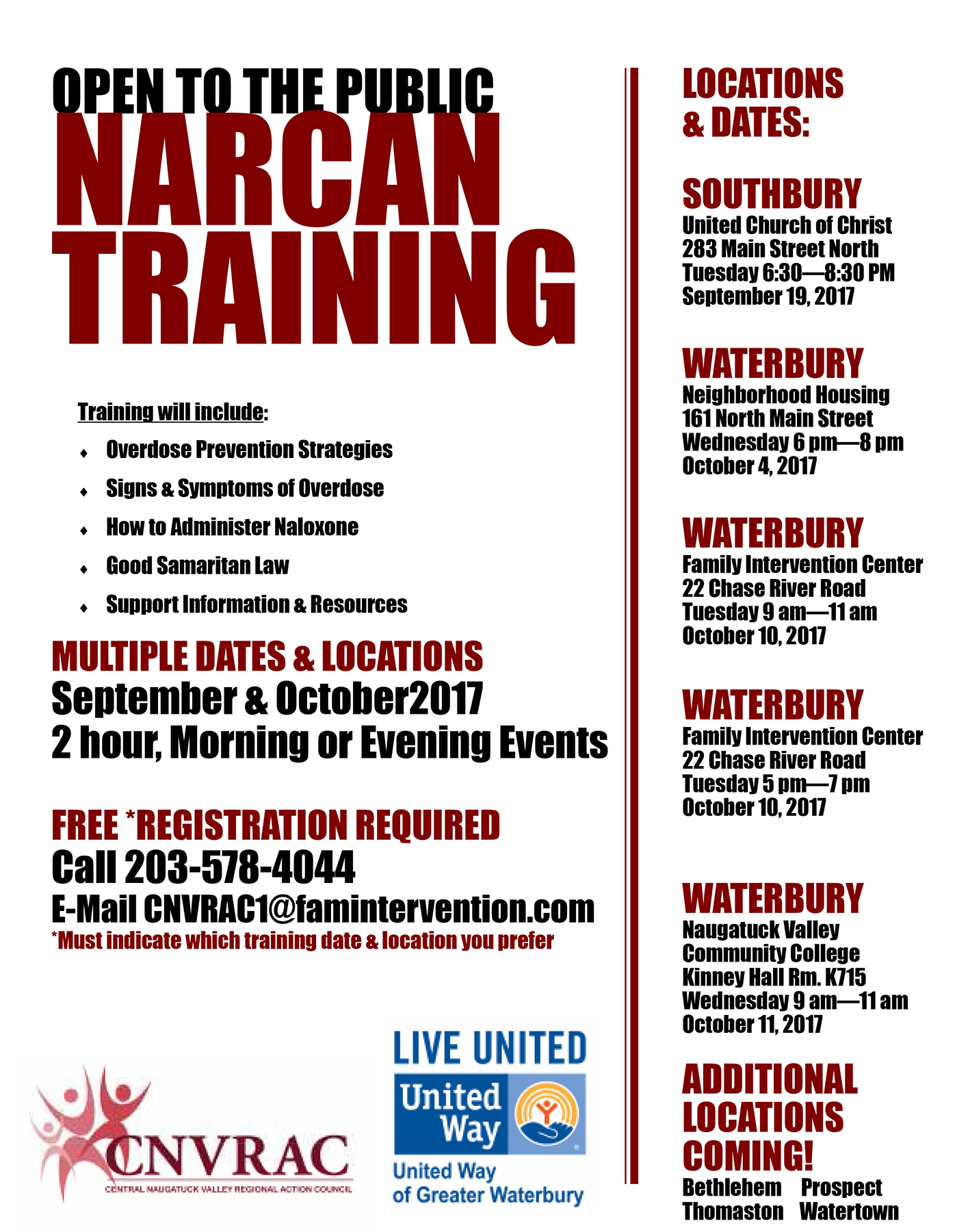Free Narcan Training Classes In Waterbury Surrounding Area State