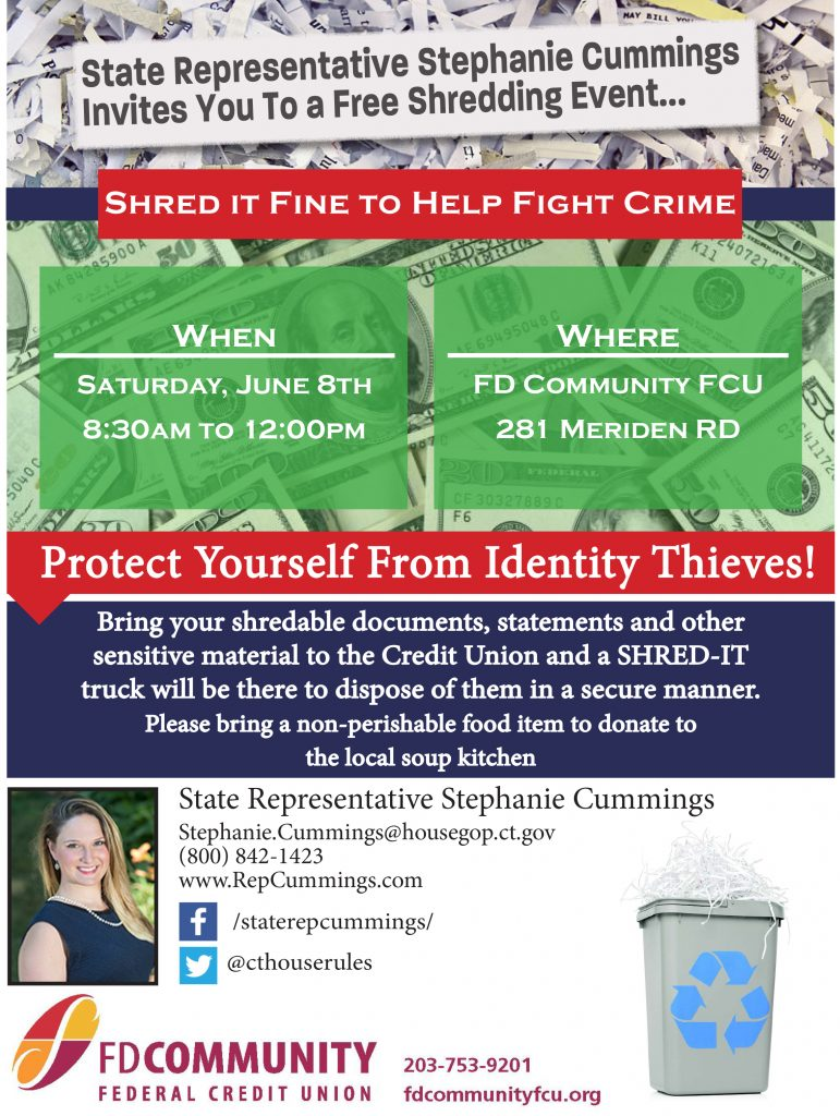 """Rep  Cummings, FD Community FCU to Host """"Shred Day"""" To Help"""