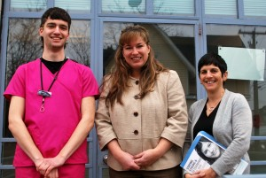 Ziobron with Zachary Kirwood and Gretchen Raffa from Planned Parenthood during a visit of the facility in Meriden