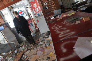 Rep. Ziobron tours an abandoned office inSunrise Resort State Park. Photo Credit- Brad Horrigan, Hartford Courant