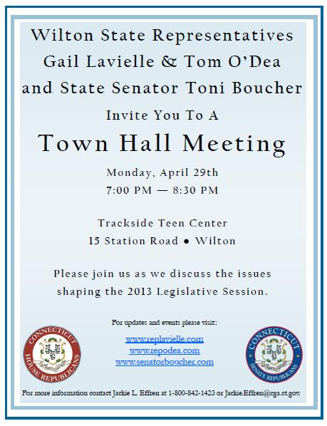 State Reps ODea Lavielle Sen Boucher to Host Wilton Town Hall