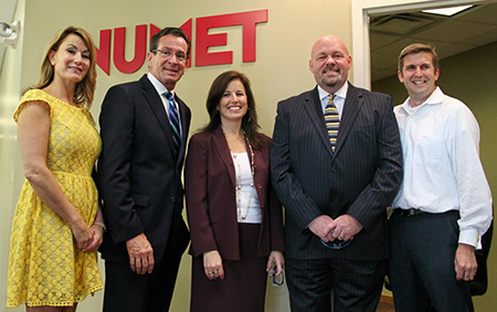 (L to R) State Rep. Themis Klarides (R-114), Gov. Dannel P. Malloy, State Sen. Gayle Slossberg (D-14), Numet President Andrew Gale and State Rep. James Maroney (D-119) toured Orange manufacturer Numet on Oct. 2 to learn about their planned expansion.